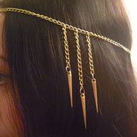 Gold Spiked Goddess Head Chain