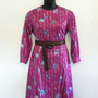 Plus Size Vintage 70s Purple Floral and Striped Dress/Spring/Summer/Fall/Modest