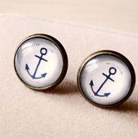 Vintage Anchor Stud Earrings