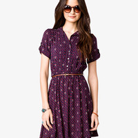 Ditsy Shirt Dress w/ Skinny Belt | FOREVER21 - 2028168645