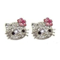 "Large 3/4"" Swarovski Crystal Stud Earrings w/ Pink Flower Bow - Silver Plated"