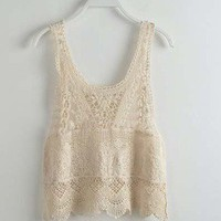 Hollow out flower Vest