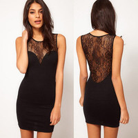 Sexy Lace Black Cultivate one's morality  Sleeveless Dress