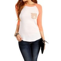 Fusion Coral/Off White Sequin Pocket Raglan