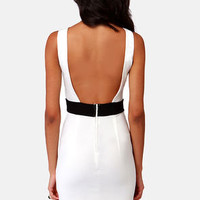 Enjoy the View Backless Ivory Midi Dress