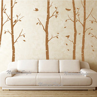6 Birch Tree with Flying Birds and LettersVinyl by NatureStyle