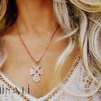 Minali ® - Bohemian Chic Jewelry / Love Copper  Ruby Cross Necklace