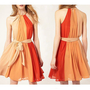 dotlife — [gryxh3600183]lovely orange fire bowknot neck dress