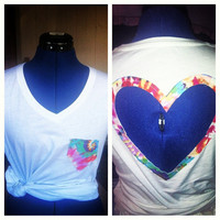 TieDye cut out Heart back Tee  by AngeliqueMerici on Etsy