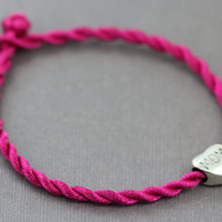 Mothers Day Bracelet : Mom Bracelet, Bright Pink Cord, Pandora Charm, Silver, M O M, ArtisanTree, Stamped, Simple, Everyday