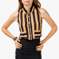 A'GACI Bold Stripe Crop Sleeveless Blouse - TOPS