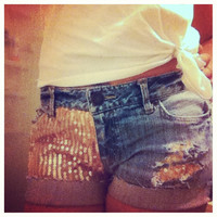 Low rise gold sequin shorts  by AngeliqueMerici on Etsy