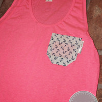 Neon Pink Tank with Blue/White Anchor Fabric Pocket