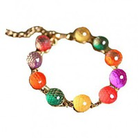 Golden Chain Bracelet with Colorful Crystal Ball