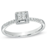 1/4 CT. T.W. Princess-Cut Quad Diamond Art Deco Promise Ring in Sterling Silver - View All Rings - Zales