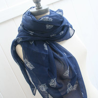 Retro Scarf Navy  Blue Scarves FREE SHIPPING Owl Scarf Lightweight Viscose Fabric Spring Fashion  - By PIYOYO
