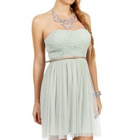 Mint Strapless Crochet Dress