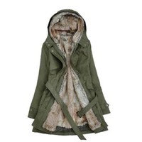 Amazon.com: Zicac Women's Thicken Fleece Faux Fur Warm Winter Coat Hood Parka Overcoat Long Jacket Christmas gift (US0 to US10 Available (green, L(US4)): Clothing