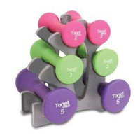 Amazon.com: Tone Fitness SDNHS-TN020 20-Pound Hourglass Shaped Dumbbell Set with Rack: Sports & Outdoors