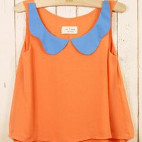 Orange Party Top - Color Palette Sheer Top | UsTrendy