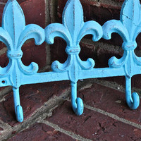 Wall Metal Hook /Aqua Blue /Fleur de lis /Bright by AquaXpressions