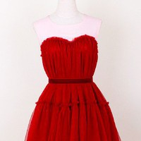 Red Mini Dress - Dreamy Fluffy Dress | UsTrendy