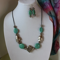 Necklace Set of Turquiose Stone and Silver Fish Beaded Turquoise Stone, Silver Bead and Silver Fish Necklace and Earrings Set