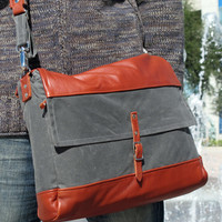 Laptop Messenger Bag, Leather and Waxed Cotton Canvas, Backpack