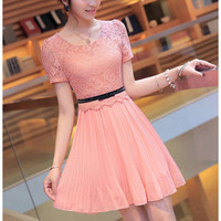 Pink Lace Chiffon Bodycon Dress