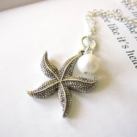 Mother's Day Gift - Antique Silver Starfish Necklace with swarovski pearl - Perfect nautical gift for Mom - FREE SHIPPING