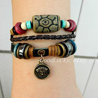 Adjustable unisex simple fashion ancient bronze head leather bracelet--black stones and brown leather braided  wooden  bead leather bracelet