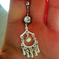One Belly Button Ring Barbell Clear Rhinestone Silver Tone &amp; Clear AB Limited Edition ONLY 1 MORE AVAILABLE