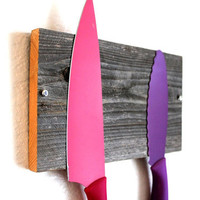Reclaimed Wood Knife Rack - Magnetic Rack -  Barnwood Knife organizer