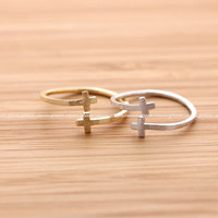 girlsluv.it - double tiny CROSS ring, 2 colors