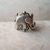 Elephant Ring Adjustable Antique Silver Filigree by PiggleAndPop