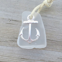 Sea Glass Anchor Nautical Necklace