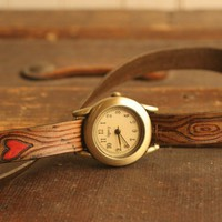 Leather Wrap Watch - Red and Antique Brown - Nice pattern with wood...... | moxieandoliver - Accessories on ArtFire