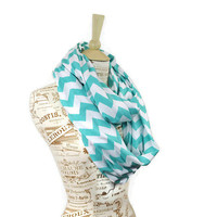 Aqua Chevron Infinity Scarf Jersey Tiffany Blue Loop Sale