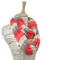 Coral Striped Infinity Scarf Color Block Grey Cream Soft