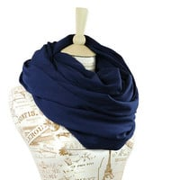 Navy Infinity Scarf Oversized Large Jersey Circle Shawl