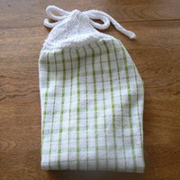 Lovely Lime Plaid Hanging Dish Towel With Hand Knit Topper and Ties