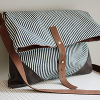 Hip Bag Cross Body Purse Striped Navy and White