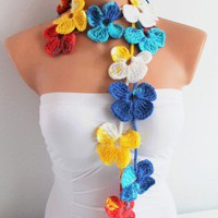 Multicolor Spring Flower 2012 Season Hand Crochet Lariat Scarf | Missglory - Accessories on ArtFire