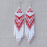 Native American Earrings Inspired. Red and White Earrings. Dangle Long Earrings. Beadwork