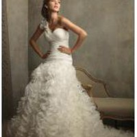 Ivory One Shoulder Ruffles Floral Ball Gown Vintage Wedding Dresses