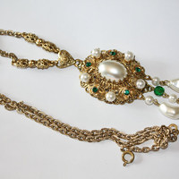 Vintage Necklace Pearl Filigree Rhinestone Germany 1950s Jewelry