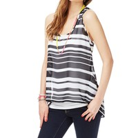 Sheer Striped Chiffon Hi-Low Tank - Aeropostale