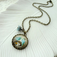Bird and Nest Necklace. Aqua blue. green. Family of Birds