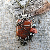 Red Jasper Wire Wrapped Pendant Necklace in Gunmetal Wire | CareMore - Jewelry on ArtFire