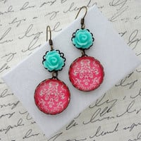 Light Turquoise and Dark Pink Earrings. Damask. Roses. Gift for her under 25 usd
